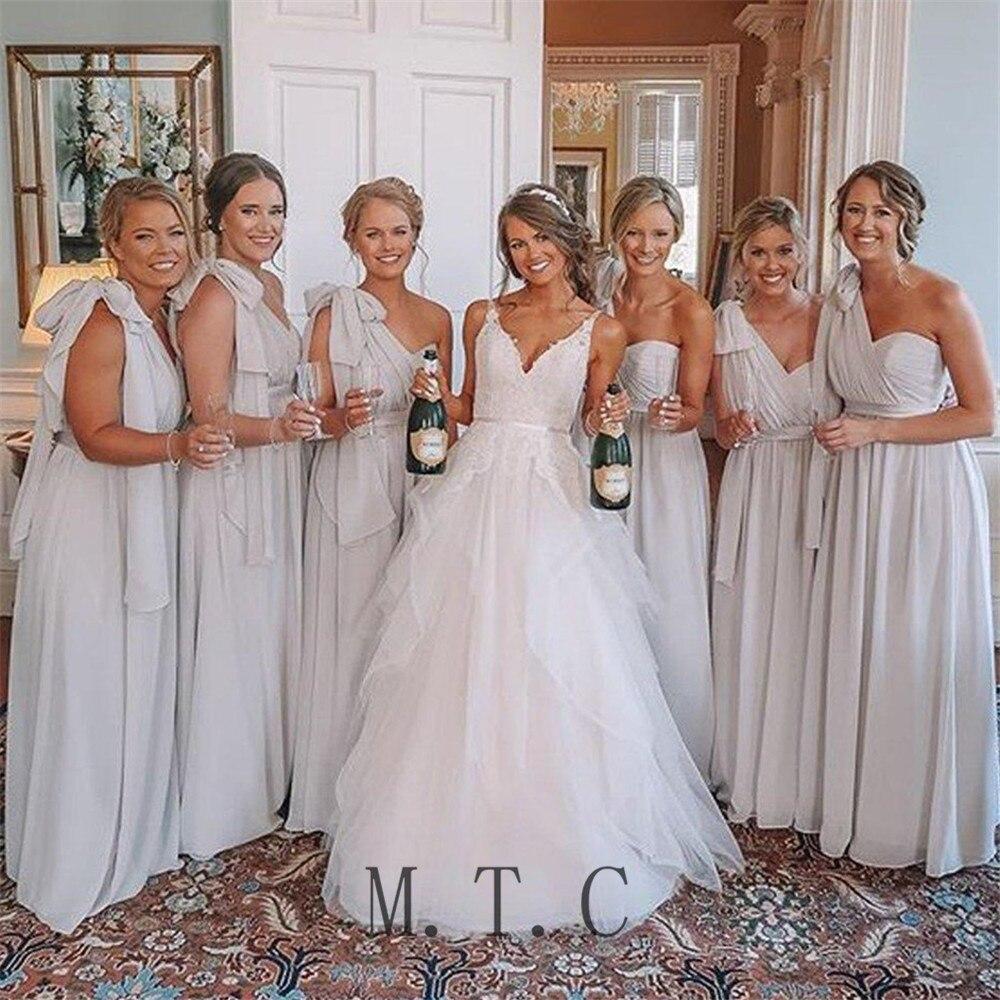 2019 New Long One Shoulder   Bridesmaid     Dresses   Pleat Chiffon A Line Floor Length Cheap Women Wedding Party   Dress   Custom Made