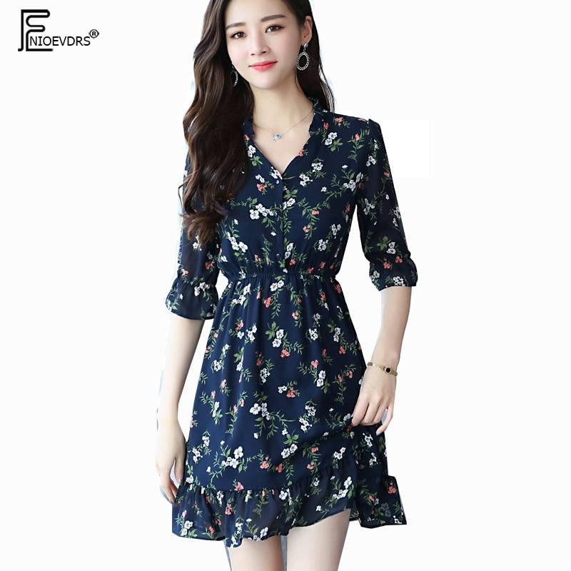 df8ad0489551 Vestidos bonitos con volantes A la moda para mujer manga acampanada cintura  delgada una línea Vintage Floral Vintage negro gasa camisa vestido 888