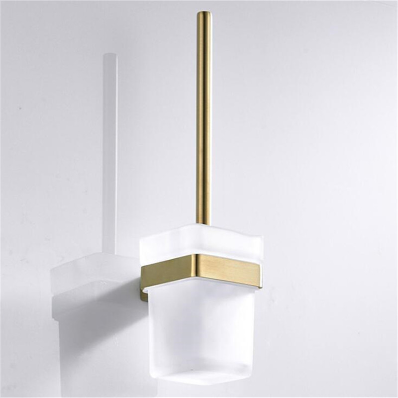 LIUYUE Toilet Brush Holder Gold Stainless Steel Wall-Mounted Bathroom Square Glass Cup Toilet Brush Holders Bathroom Accessories