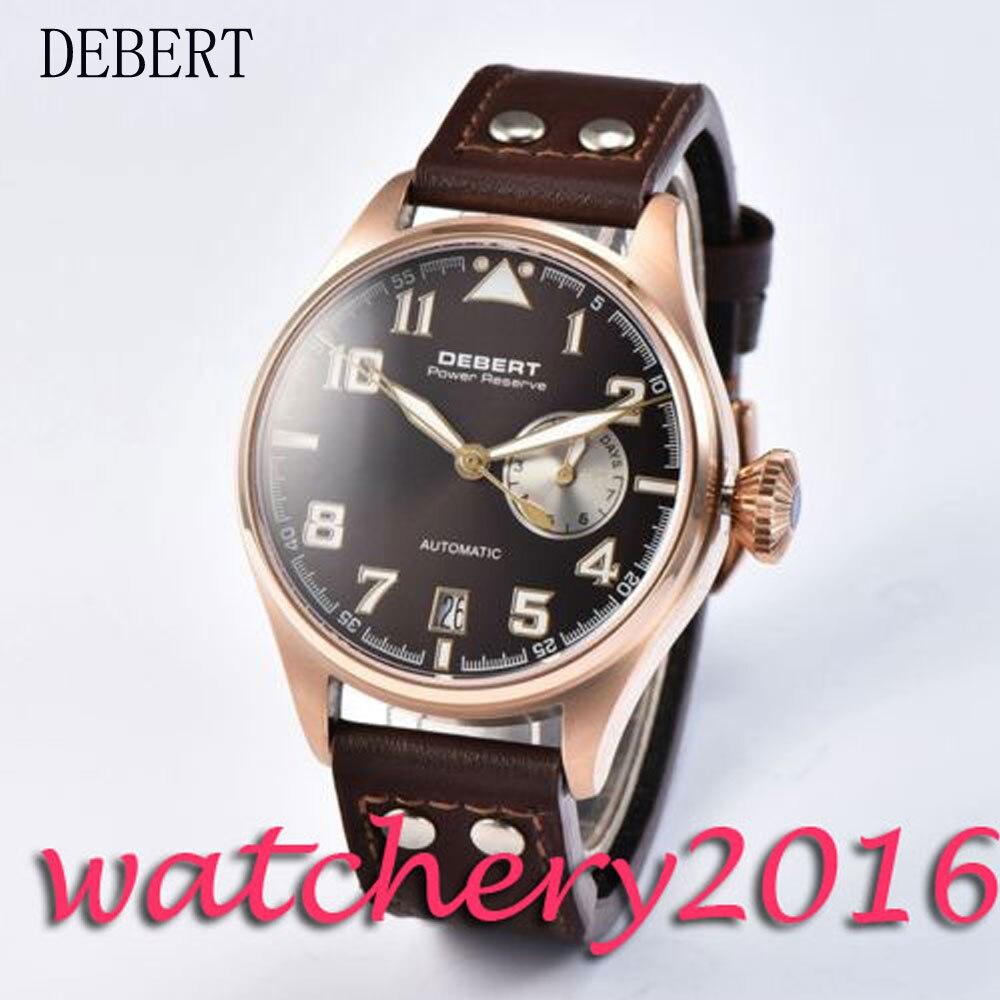 Luxury 42mm Debert rose golden case black dial date adjust Power Reserve Automatic movement men's Watch цена и фото