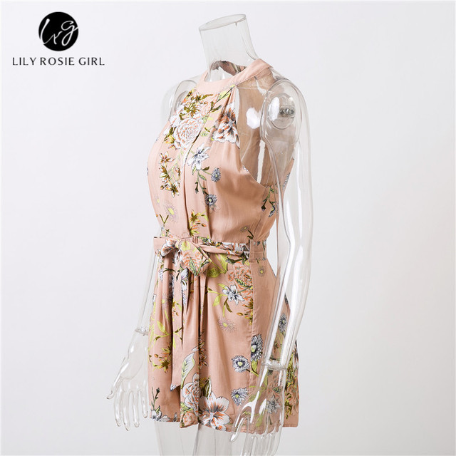 fa3912df5a08f Lily Rosie Girl Off Shoulder Boho Floral Sleeveless Sexy Jumpsuit Women  Sashes Summer Beach Party Playsuit Short Romper Overalls