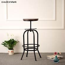 iKayaa Industrial Style Bar Stool Height Adjustable Swivel Bar Stool Natural Pinewood Bar Stools Chair Kitchen Dining Chair(China)
