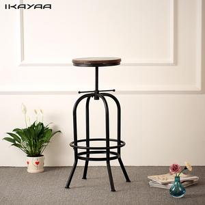 iKayaa Industrial Style Bar Stool Height Adjustable Swivel Bar Stool Natural Pinewood Bar Stools Chair Kitchen Dining Chair