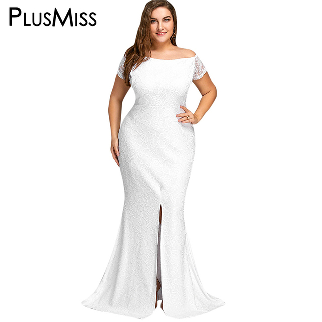 Plus Size Off The Shoulder Lace Crochet Split Formal Maxi Long Dress White Sexy  Evening Party Elegant Dress Robe Femme 2017 997a128cf65e