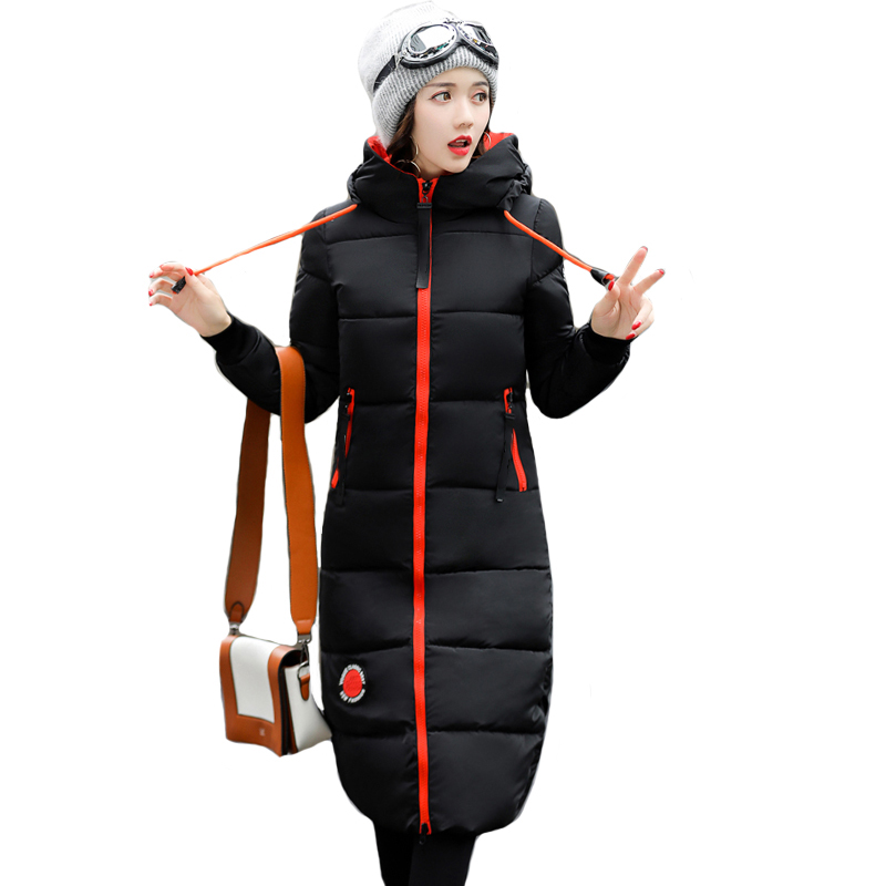 2019 winter women long slim warm parka coat female large size hooded solid color cotton jacket