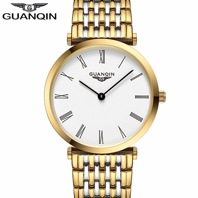 Watches men New Fashion designer Original brand GUANQIN Sapphire waterproof ultra thin 6mm Free shipping Men quartz wristwatch