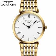 Watches men New Fashion designer Original brand GUANQIN Sapphire waterproof ultra thin 6mm Free shipping Men quartz wristwatch