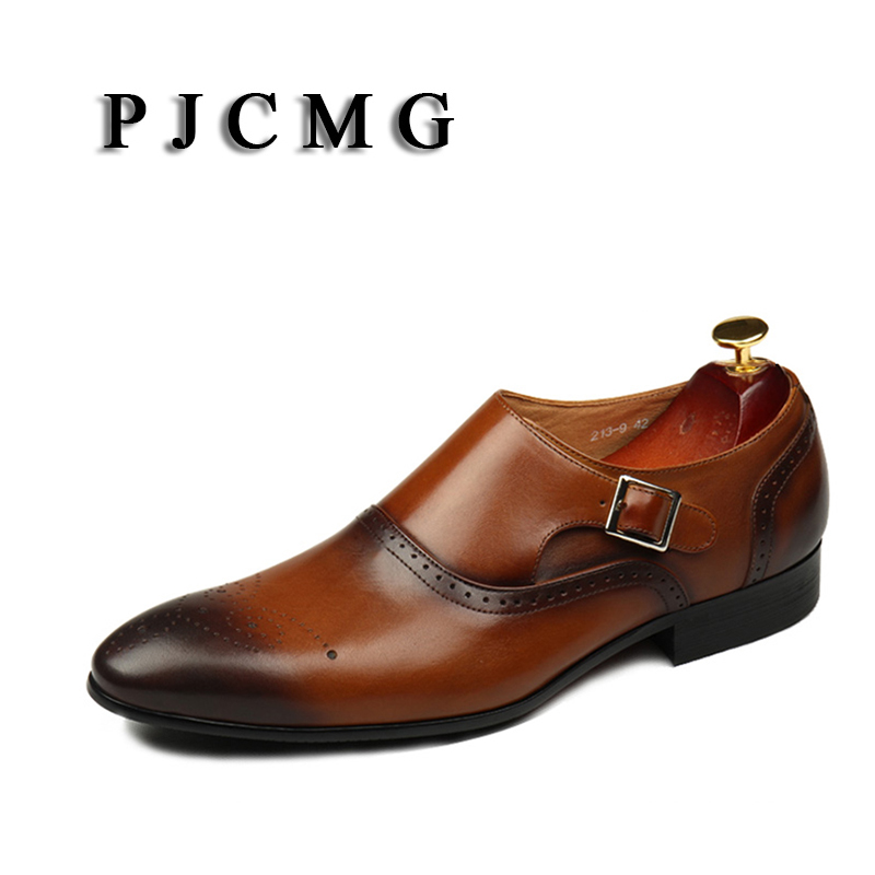 PJCMG New Breathable Mens Business Slip-On Black/Brown Pointed Toe Formal Dress Genuine Leather Wedding Oxfords Office Shoes pjcmg new black red mens oxfords crocodile pattern slip on pointed toe genuine leather business formal men wedding shoes