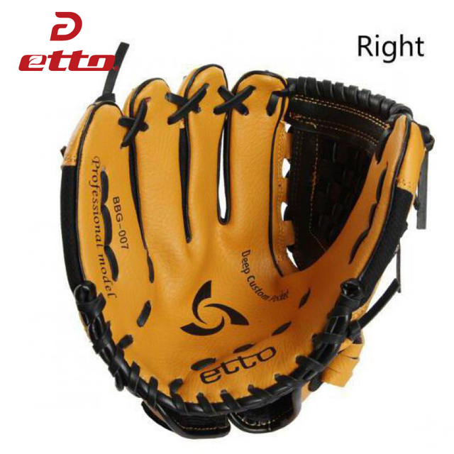 Etto 10 Inches High Quanlity PVC Right Hand Baseball Glove Children Kids Softball Baseball Training Gloves For Child HOB001 Y