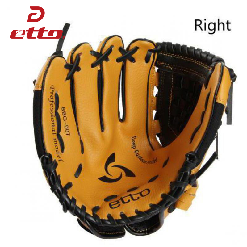 Etto 10 Inches High Quanlity PVC Right Hand Baseball Glove Children Kids Softball Baseball Training Gloves For Child HOB001 Y macgregor bbmesh 12 5 inch baseball utility glove page 8