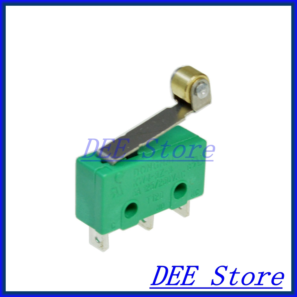 10PCS mini 3a/5a 250vac microswitches 3 pin micro safety limit switch n/c n/o with roller lever free shipping