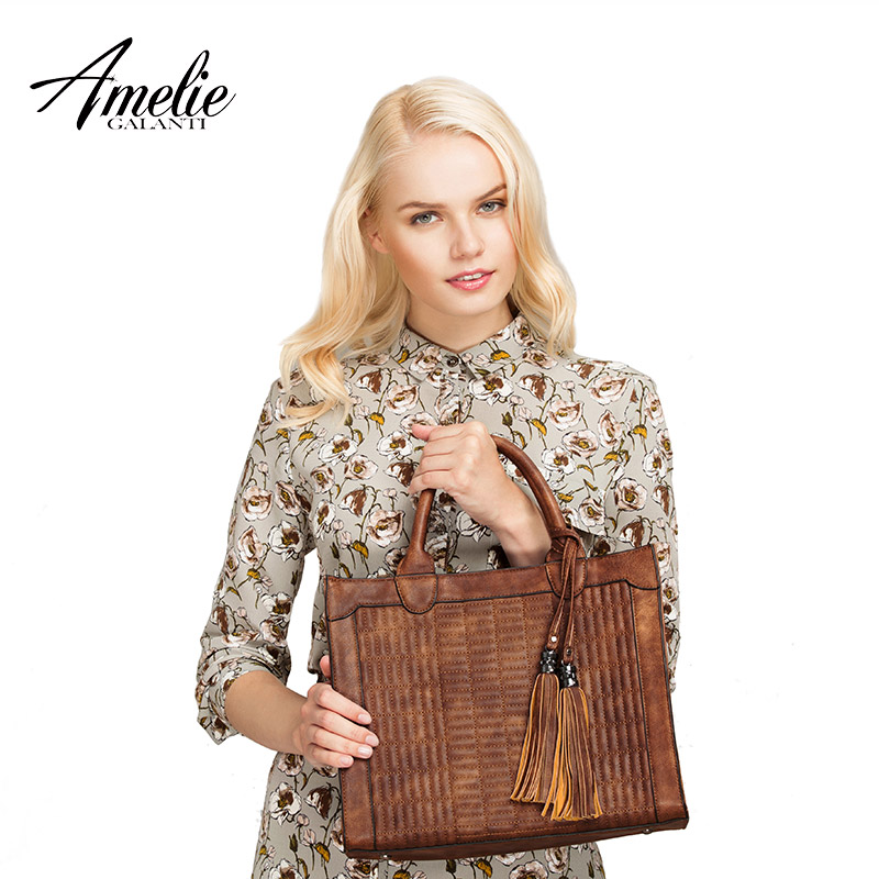 AMELIE GALANTI vintage graceful concise women handbags temperament tote channel with hard zipper suitable for all occasions new
