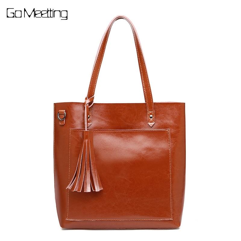 Go Meetting Brand 2018 Fashion Women Handbag Genuine Leather Women Bag Soft Oil Wax Leather Shoulder Crossbody Bag Casual Tote