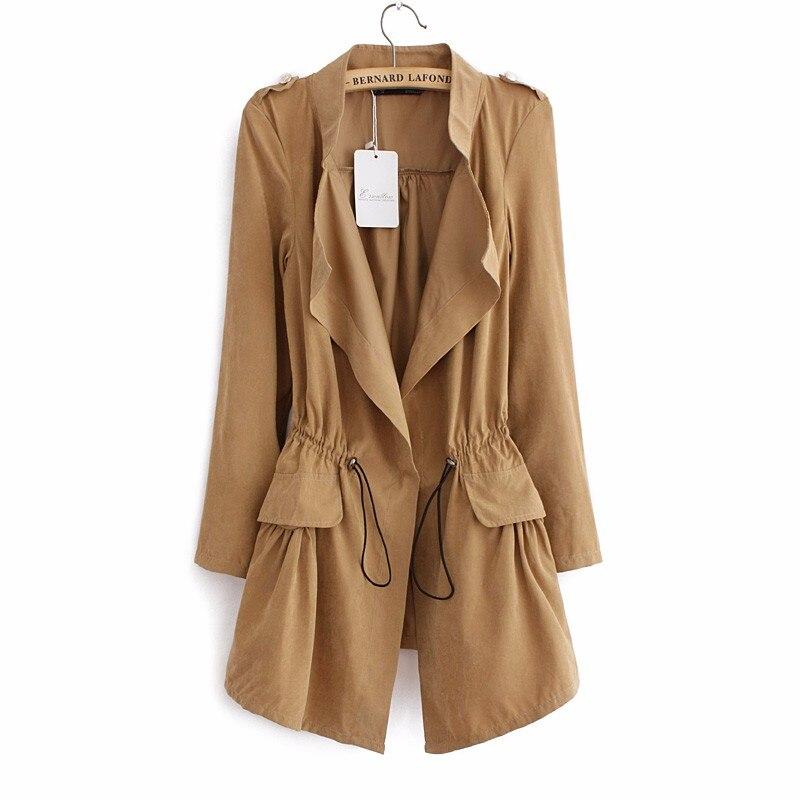 2018 Korean style Office elegant khaki drawstring Waist Long trench coat for women Casual brand windbreaker female IP102