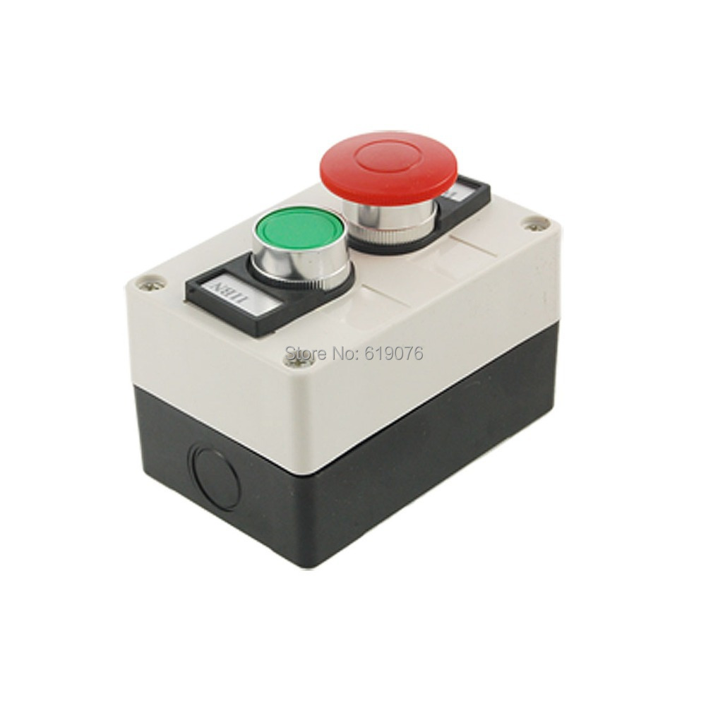 Red Mushroom Green Round Flat Head Momentary Switch Push Button Station green red yellow 3 flat push button momentary switch station