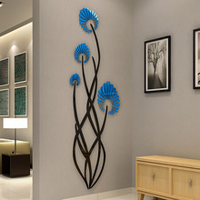 Creative flower wall stickers 3d stereo porch sticker TV background acrylic corridor decoration mirror