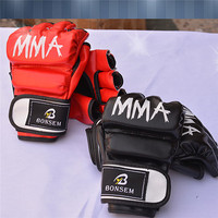 BONSEM Boxing Gloves PU Leather Half Mitts Mitten MMA Muay Thai Training Gym Gloves Training Sparring