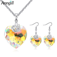ANNGILL Bridal Wedding Jewelry Sets Crystals From Swarovsk Romantic Heart Women Bride Earrings Necklace Set Indian Jewelry 2018