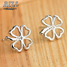 ES495 Brincos Women Silver Plated Leaf Earing Heart LOVE Fashion Metal Pierced Stud Earrings Jewelry pendientes