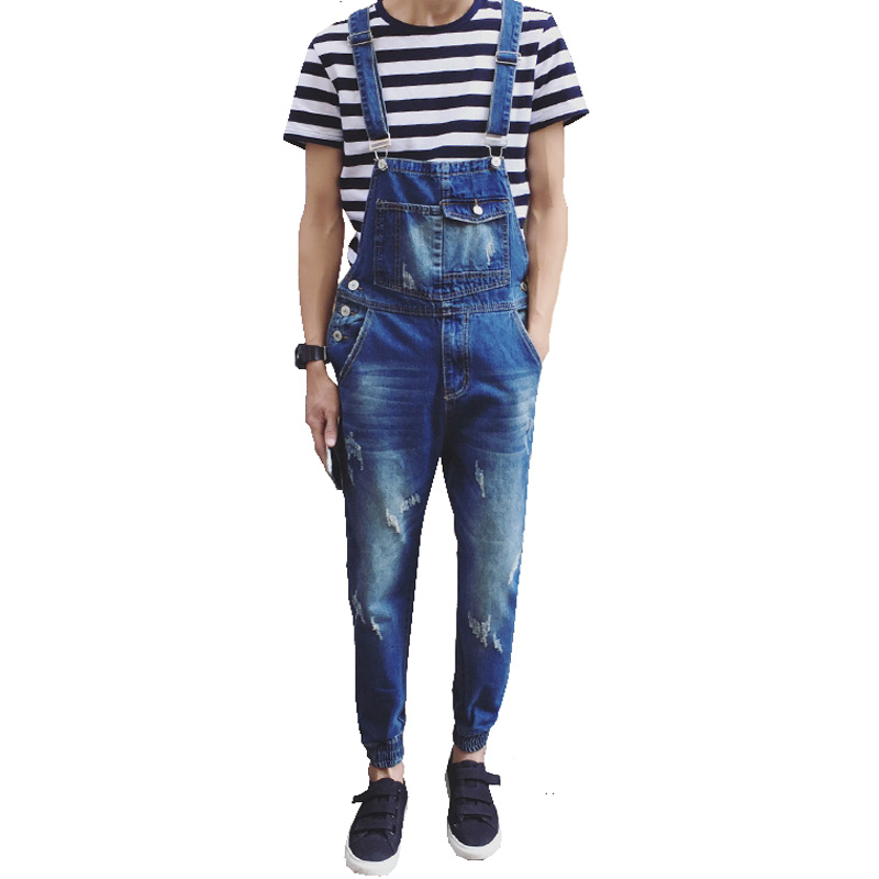 Men's casual pocket light blue denim overalls Slim jumpsuits Ankle banded pants Ripped jeans for man high quality 2016 new men s casual pocket blue denim overalls slim jumpsuits pants ripped jeans for man plus size 28 34