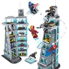 7-й этаж здание Супергерои Железный человек Марвел Мститель башня Fit логотипы Мстители подарок строительный блок кирпичи обучающая игрушка
