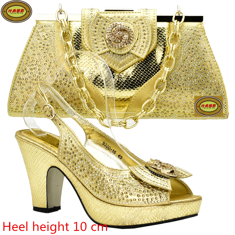 DS10 New Arrival African Wedding Shoes And Bag Set Hot Crystal Woman Pumps Matching Bag Free Shipping