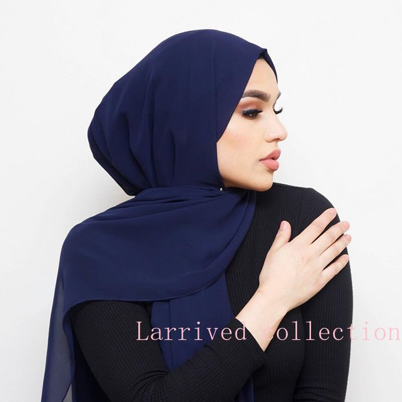 LARRIVED women plain bubble chiffon scarf hijab solid color shawls headwraps muslim hijabs scarves/scarf muffler 49 colors