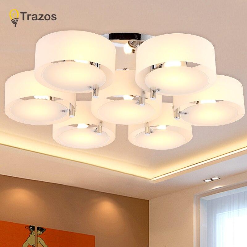 NOVO 2019 Modernas Luzes de Teto moderno e elegante design pendente de teto de cristal da lâmpada sala de jantar branco sombra lustre de acrílico