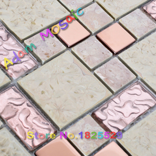 Pink Gl Tiles Kitchen Backsplash Beige White Ceramic Tile