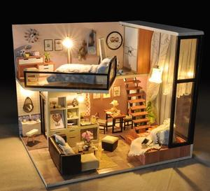 Image 3 - LED Light Doll Houses Miniature Dollhouse Furniture Kit Assembly Model Doll House Handmade Wooden Multicolor Toys Birthday Gift