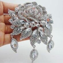 Новая мода элегантная Свадебная прозрачная Хрустальная арт-деко Цветочная Брошь на булавке в виде Розы Подвеска для женщин