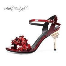 c43386d13c 2018 verão sapatos de salto alto 9 cm sapatos de salto alto cinta fivela  sandálias de flores de strass cristal vermelho prata ge.