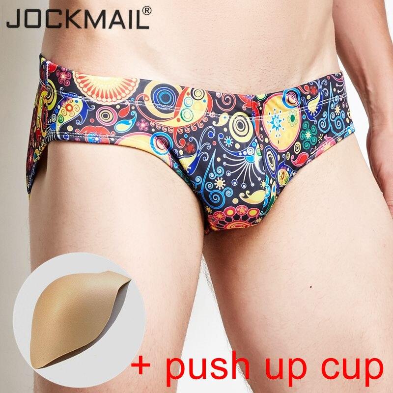 JOCKMAIL brand Bulge Enhancing mens swimwear low waist sexy push up cup gay men swimsuit shorts mens surfing swim pants