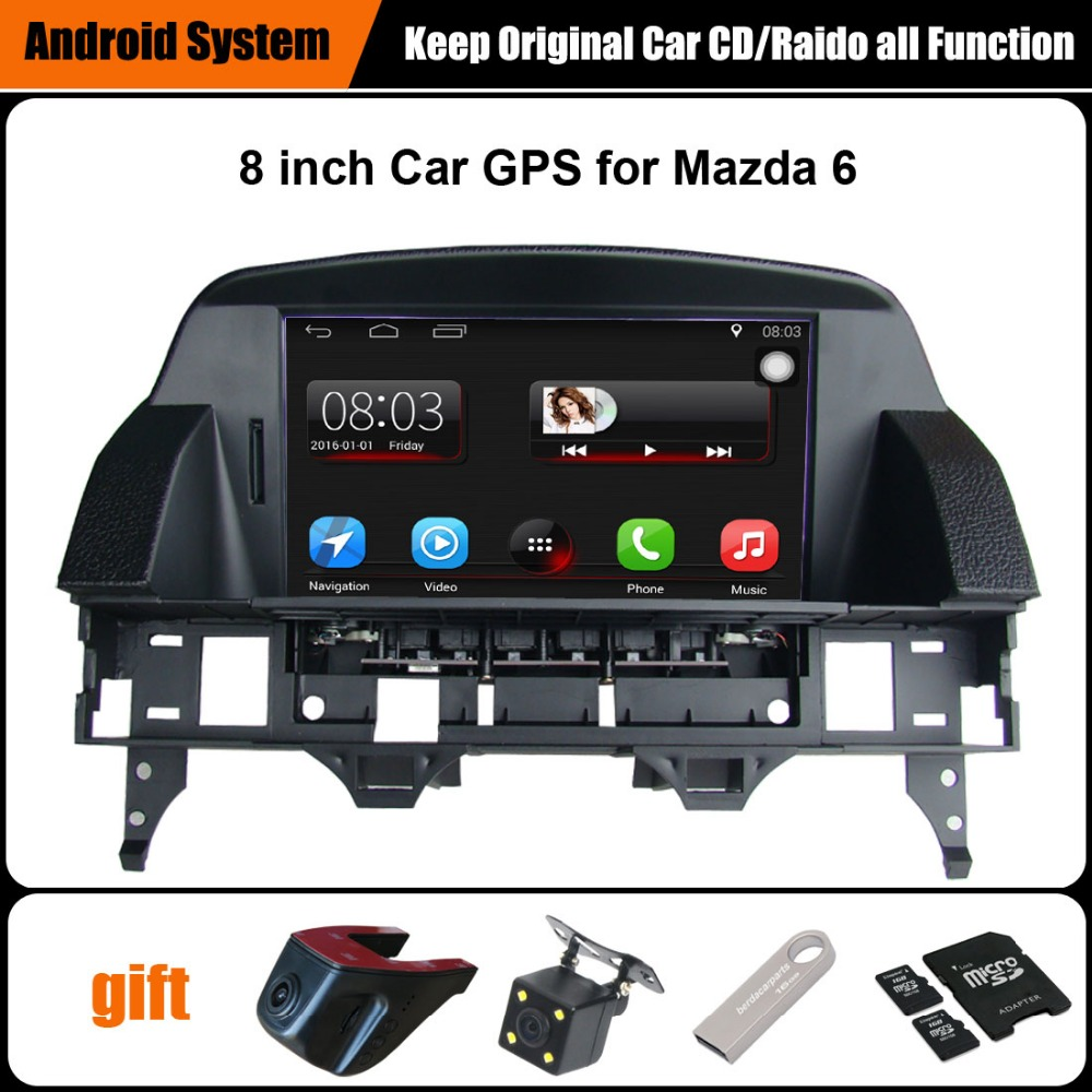 8 polegada da tela de Capacitância Tela de Toque Do GPS Do Carro para Mazda 6 Suporte Do Sistema Android Smartphone WiFi Espelho-link