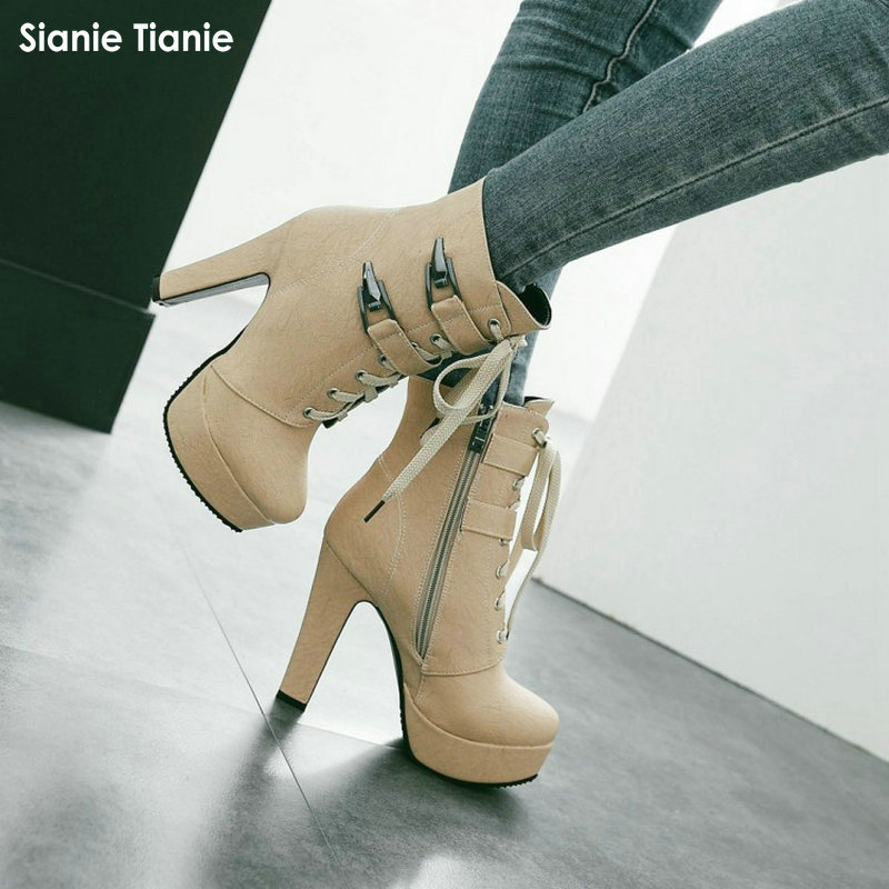 c9e58c9ba4e US $52.88 |Fashion Thick High Heels Metal Buckle Punk Shoes Woman Zipper  Lace up Platform Ankle Boots for Women Yellow Motorcycle Boots-in Ankle  Boots ...