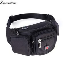 Soperwillton Man Waist Pack Brand 2019 Fashion Oxford Men's Waist Bag Black Casual Funny Pack Male Travel Crossbody Bag #J809(China)