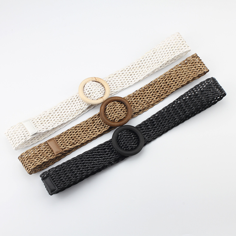 2019 New 4.2cm Wide Braided Woven Straw Waist Belt Female Black White Round Wooden Buckle Belts For Women Ladies Dress Coat Belt