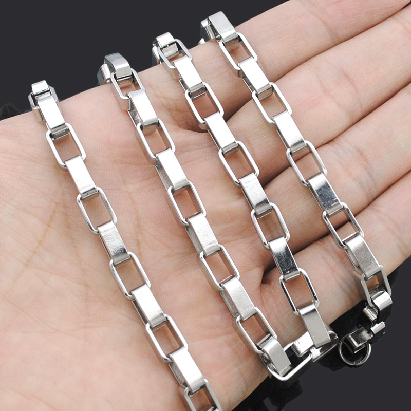 Biker 316L Stainless Steel Box Chain Necklaces Menss
