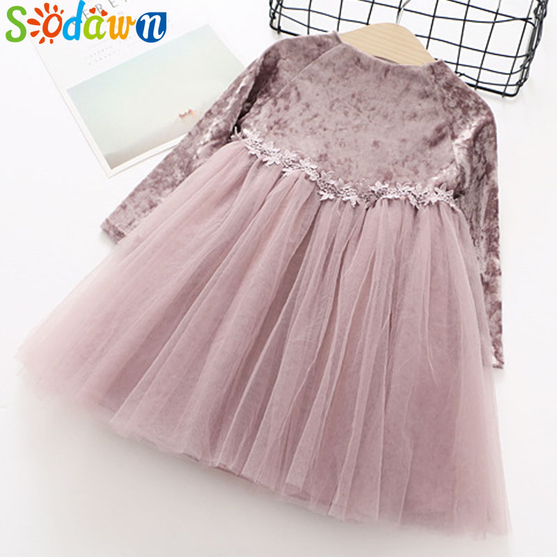 So dawn Autumn New Girls Clothes Waist Lace Design Long Sleeve Pure Princess Dress high quality Children Clohting Dress high waist bandage long sleeve dress
