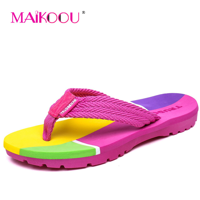 Maikoou Fashion Women Slippers pantufa 2017 Summer New Arrivals Flip Flops shoes Big size Flat with sandals Women Home slippers