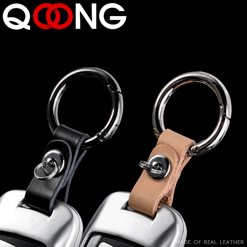 QOONG 2019 Handmade Car Keychain Genuine Leather + Metal Key Chain Key Ring Man's Waist Hanged Key Holder Detachable Keyring Y69