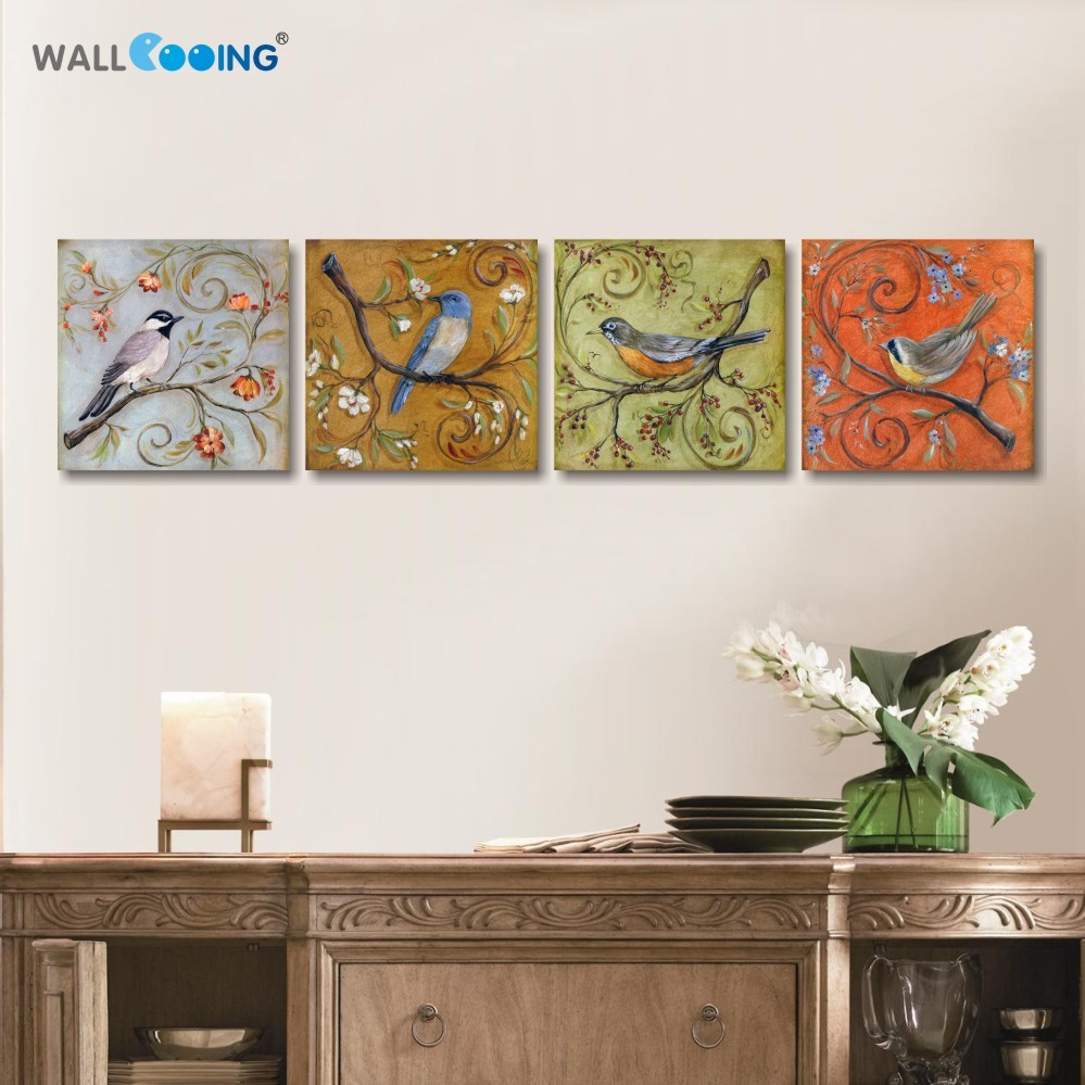 4 panels canvas painting monopoly Modular pictures quadros Red, yellow, blue and green bird branch oil painting life is strange ...