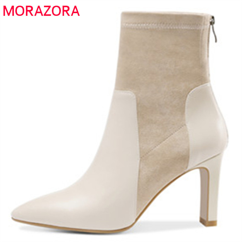 MORAZORA 2018 top quality genuine leather ankle boots for women pointed toe autumn boots simple zipper dress shoes woman black