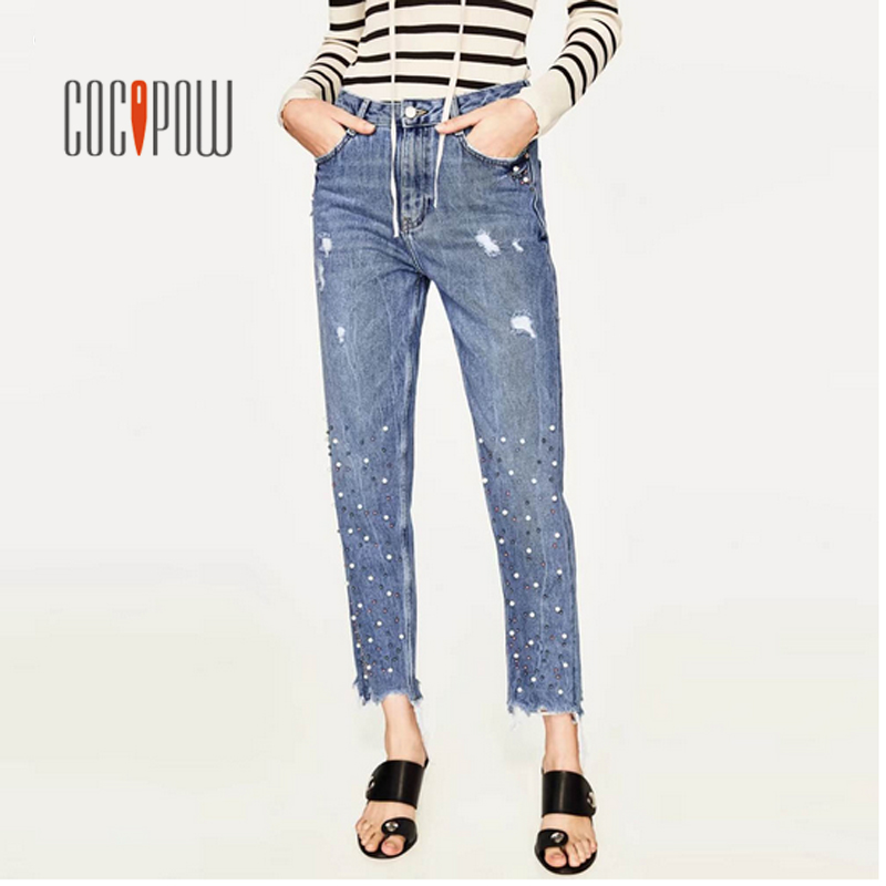 2017 za Stylish Beading Embroidered Flares Washed Denim Jeans Ripped Bleached Pencil Pants Burr Hem Retro Women Trousers