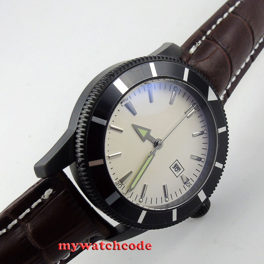 46mm white dial date luminous marks PVD case automatic mens watch P17 цена и фото
