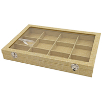 12 Grid Linen Jewelry Box Showcase Jewelry Case With Glass Lid Lock Removable