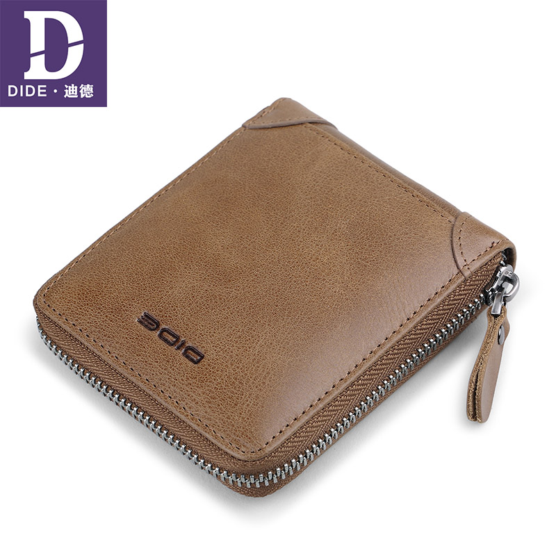DIDE Short Wallet Purse Cowhide-Clutch Zipper Male 100%Genuine-Leather for Casual Simple