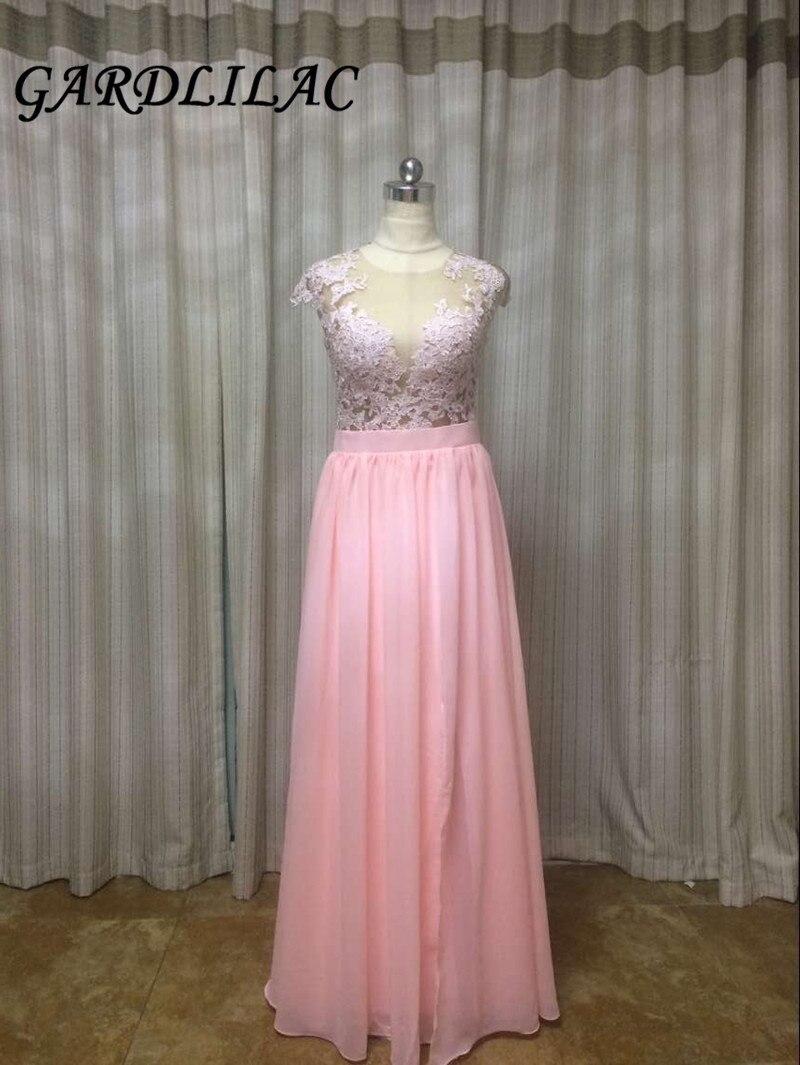 Gardlilas mousseline de soie rose longue robe de demoiselle d'honneur avec Applique une ligne robe de soirée de mariage bouton Photo réelle