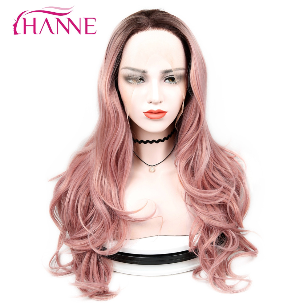 HANNE Long Ombre Wig 1B Pink/27/Golden/Burgundy Body Wave Heat Resistant Synthetic Hair Full Lace Wigs For Black Or White Women