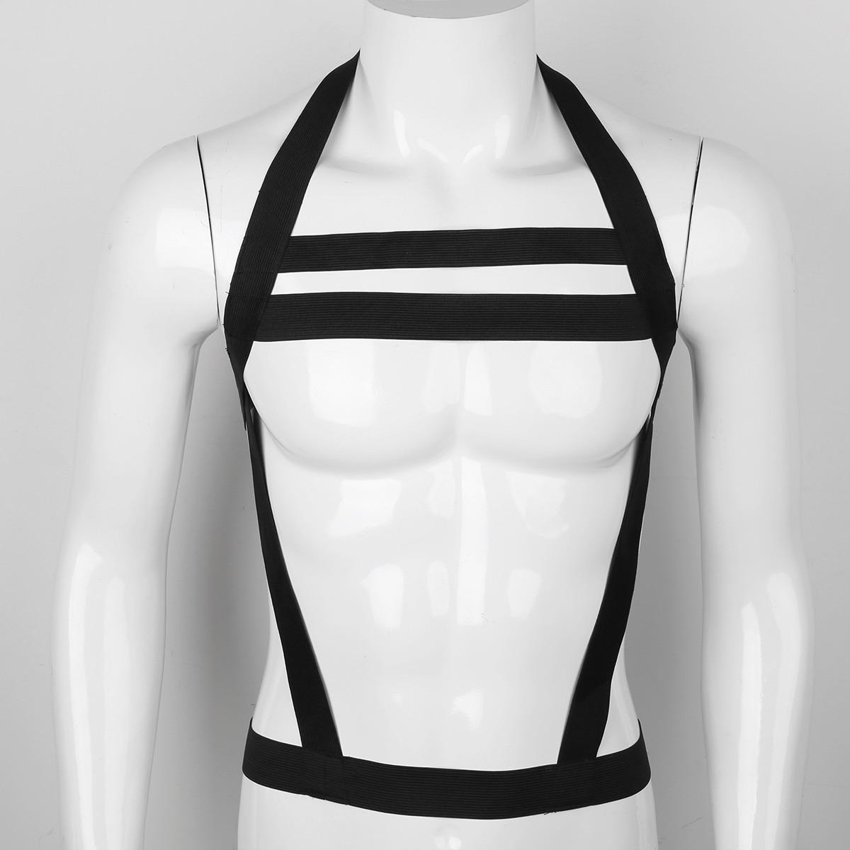 dPois Mens Lingerie Strong Nylon Double Shoulder Straps Muscle Body Chest Harness Belt